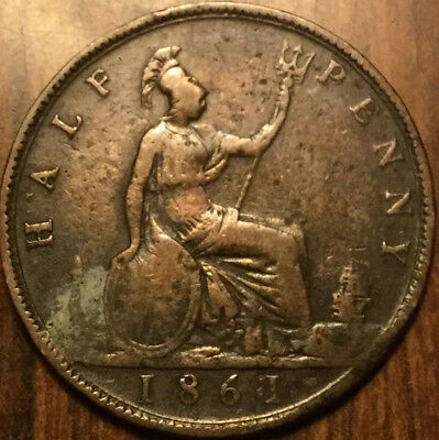 1861 Uk Gb Great Britain Victoria Halfpenny