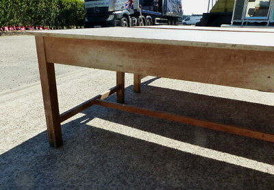 2 x 6ft vintage reclaimed art / design school work tables ,benches,dining,retail