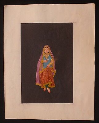Indian Vintage Original Indian Lady Water Color Hand Painting Collectible