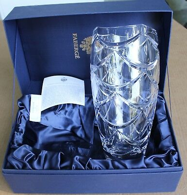 Carl Faberge Atelier Crystal Collection Engraved Glass Vase Signed w/ Case
