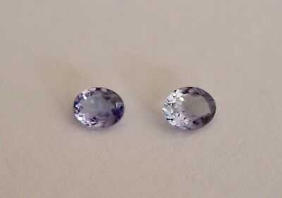Genuine NATURAL Tanzanite OVAL PAIR 0.71cts VS eye loupe clean 5x4mm Blue Green