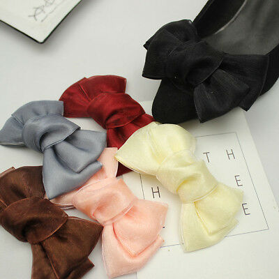 2 Pcs Wedding Bridal Organza Bow Shoe Clips Charms Decoration