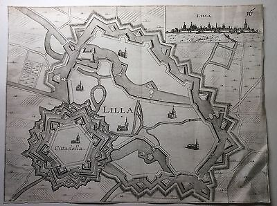 Original 17th 18th Century Map or Plan of The Fortified City of Lilla (Lille).