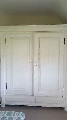 Large Antique Painted Knock Down Double Wardrobe