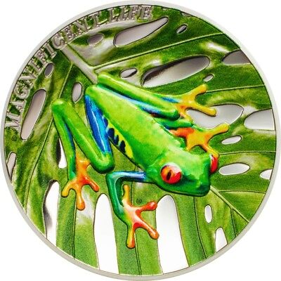 Tree Frog Magnificent Life $5 1oz Pure Silver Coin Cook Islands 2018 Presale