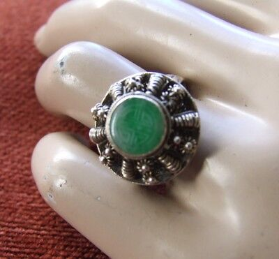 Gorgeous Vintage Asian Silver and Jade Ring with Adjustable Band