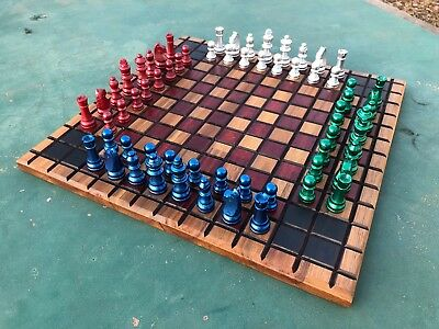 4 player wooden chess set - great unique gift hand made
