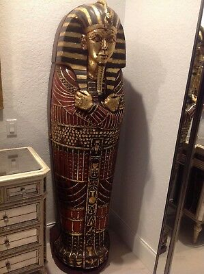 """KING TUT Sarcophagus 74"""" Egyptian jewelry armoire chest, CD cabinet bar bookcase"""