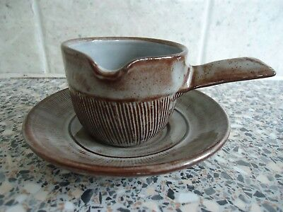 Creigiau Studio Pottery (Wales) Sauce Boat And Saucer,brown Striated Patterns