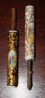 Pair 19C French Porcelain Walking Stick/cane Handle-Knobs:couples After Watteau