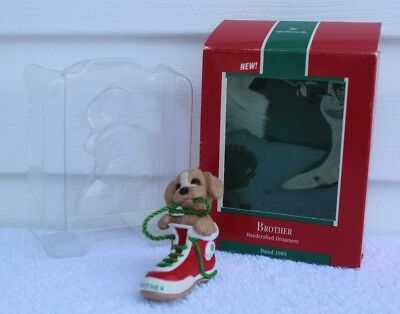 Vintage Hallmark Keepsake Christmas Ornament Brother Puppy In Sneaker With Box