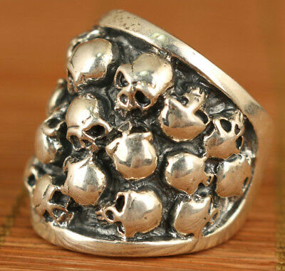 Cool Rare S925 26g Silver Simple eleegant Hand Carved Skull Head Statue Ring
