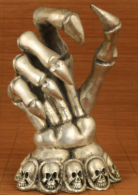 limited edition Big Rare Copper Tibet Silver chinese Carved Devil Hand Statue