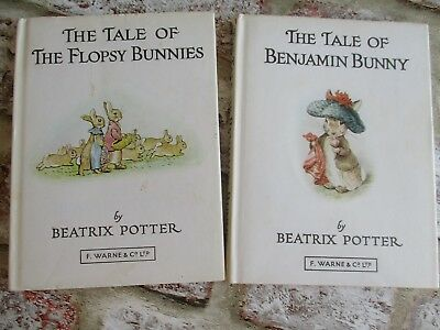 2 Vintage Beatrix Potter Books - Benjamin Bunny and Flopsy Bunnies
