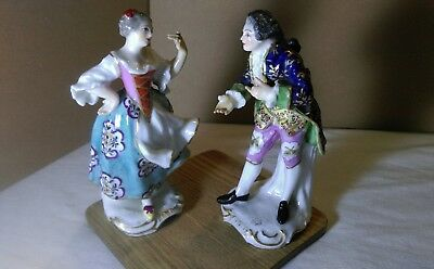 PAIR OF Antique Porcelain FIGURINES Regal Rococo