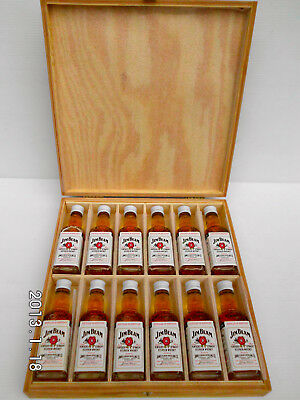 Jim Beam Vintage White Label Glass Mini Bottles Set In Timber Case Full- Rare!!!