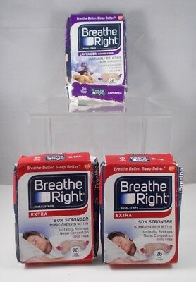 Breathe Right Nasal Strips Extra Tan + Lavender Scented 26 Each Box - 3 Box Set