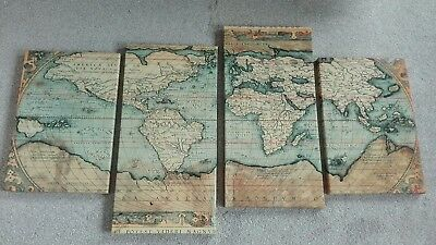Large antique style world map canvas
