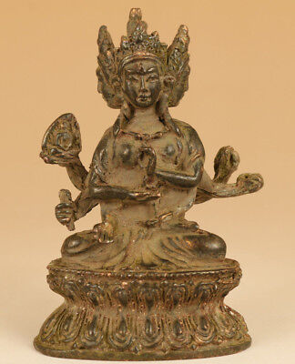 chinese hand Old Bronze carving Esoteric Buddhism Guanyin statue figure Ornament