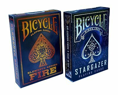 2 Decks Bicycle Stargazer & Fire Element Series Standard Poker Playing Cards New