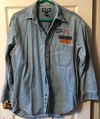 Denim Shirt w/ Longaberger Market Basket Logo embroidered Basket Consultant sz M