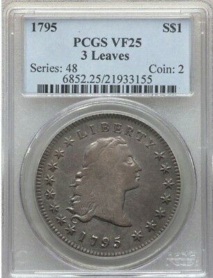 1795 $1 Early Dollar Flowing Hair 3 leaves -  VF25 PCGS
