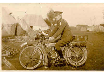 ww1 card welsh regt on douglas motorcycle, yank powell photograph portsmouth