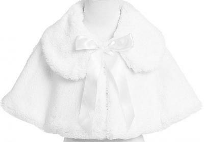 Girl's Soft Faux Fur Cape in Black, White or Ivory (Infant 6-24 Month)(Girls...