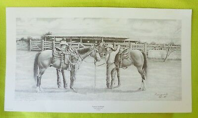 "Don YANDELL Signed Limited Edition Print ""Leavin' For Work"" Cowboy Western Horse"