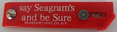 """Seagram's and be sure""""  Cutter Box Knife Seagrams Liquor Vintage Advertising"""