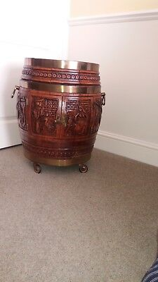 Antique vintage Black Forest carved oak brass bound barrel - drinks cabinet