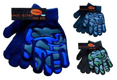 Boys Magic Camouflage Thermal Gloves One Size Winter Warm School Run Play