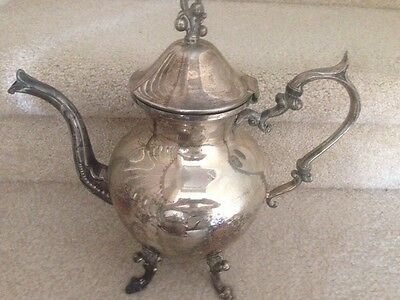 """Silver On Copper """"B. S. Co"""" Antique Coffee Pot With Top Size Tall 11"""" Wide  11"""""""