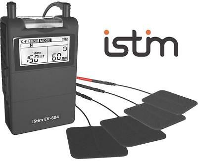 iStim EV-804 TENS/EMS 2 Channel Rechargeable Combo Machine Unit - Muscle...