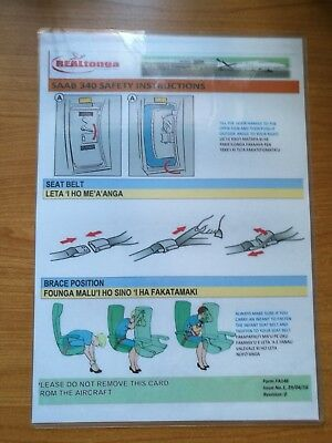 *** Safety Card - Real Tonga Airlines Saab 340 #1 ***