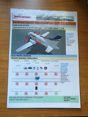 *** Safety Card - Real Tonga Airlines Saab 340 #2 ***
