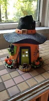 """PartyLite Pumpkin Witch House Porcelain Halloween Decoration Witches Hat 9"""" Tall"""