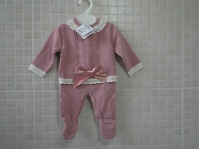 Spanish Style Knitted top and leggings bow Rose Pink  0-3 months 3-6 months