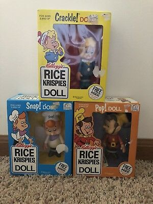 Kellogg's Rice Krispies Set Snap Crackle Pop Dolls 1984 Talbot Toys in Box