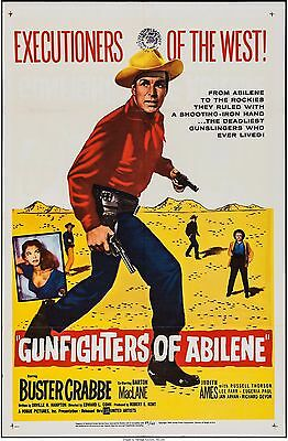GUN FIGHTERS OF ABILENE 1959  BUSTER CRABBE, ORIGINAL 1-sheet, 3  LOBBY CARDS