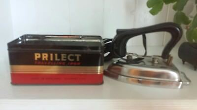 Vintage Prilect Travelling Travel Iron In Original Tin