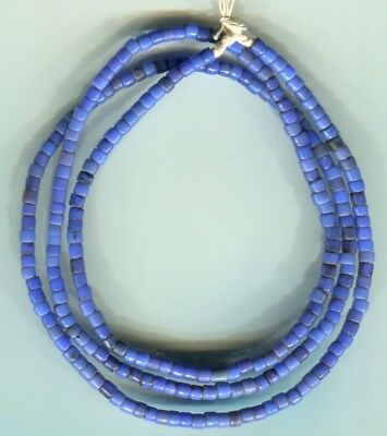African Trade beads Vintage Bohemian Czech glass old tiny blue tile beads