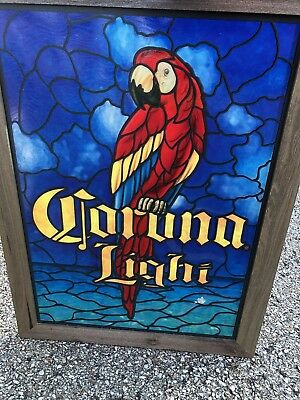 Corona Light Faux Stained Glass Parrot Beer Bar Man Cave Sign