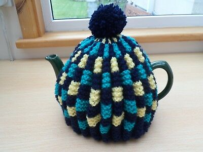Tea Cosy New Hand Knitted Vintage Style Navy Jade Yellow