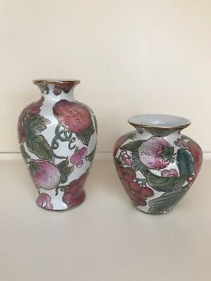 """VINTAGE MATCHING PAIR OF CHINESE CLOISONNE ENAMEL TOYO VASES FLORAL 6"""" and 4.5"""""""