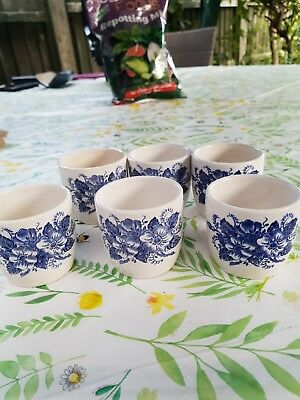 6 X Vintage Blue And White Egg Cups Floral Pattern - Possibly Worcester?