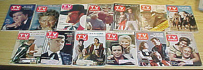 TV Guides- Western shows, lot of 13 from the late 1950s to the 1960s.