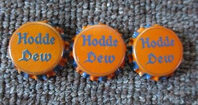 "Three RARE Old ""HODDE DEW"" Cork-Lined BOTTLE CAPS...UNUSED!"