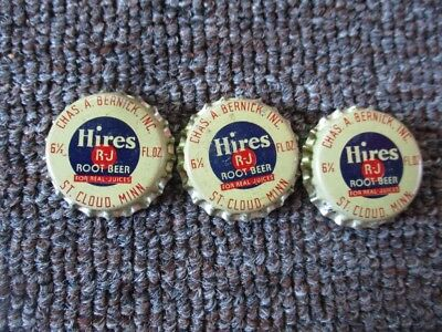 "3 RARE Old ""HIRES ROOT BEER"" Cork-Lined BOTTLE CAPS...UNUSED..St Cloud Minnesota"