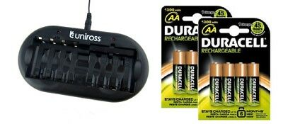 UNiROSS 8 Position  FAST AA/AAA BATTERY CHARGER & 8 x AA DURACELL BATTERIES